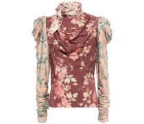 Draped Tie-neck Floral-print Silk-blend Blouse Burgundy Size 1