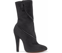 Zip-detailed Suede Ankle Boots Charcoal