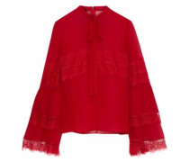 Pussy-bow Lace-trimmed Silk-chiffon Blouse Red