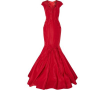 Flared pleated silk-faille gown