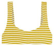 The Elle Striped Ribbed Bikini Top Mustard