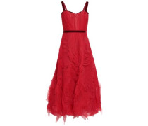 Ruched Tulle Gown Red