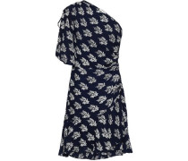 One-shoulder Ruched Printed Silk-crepe Mini Dress Navy