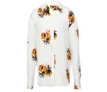 Floral-print Silk-crepe Shirt White
