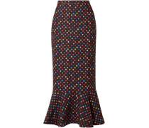 Polka-dot Woven Midi Skirt Black