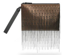 Fringed metallic leather pouch
