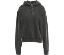 Embroidered French Cotton-terry Hoodie Dark Gray