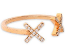 Rose gold-tone crystal ring