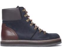 Leather-paneled nubuck ankle boots