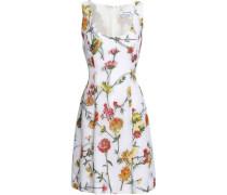 Floral-brocade Mini Dress White