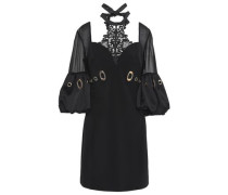 Woman Guipure Lace-paneled Embellished Crepe Mini Dress Black