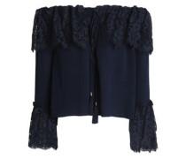 Cali off-the-shoulder cotton-blend lace and silk crepe de chine top