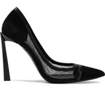 Leather-trimmed Suede And Mesh Pumps Black