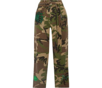 Embellished Camouflage-print Cotton-twill Tapered Pants Green