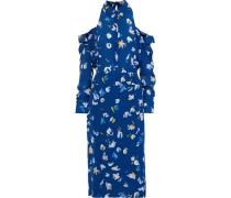 Chiara Cold-shoulder Printed Silk-georgette Midi Dress Blue
