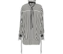 Striped Silk-crepe Tunic Black