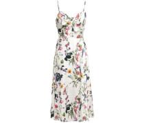 Knotted Floral-print Satin-twill Midi Dress White