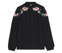 Embroidered cotton-twill top