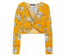 Woman Karlee Cropped Twist-front Floral-print Cotton-broadcloth Top Saffron