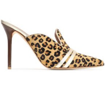 Metallic Leather-trimmed Leopard-print Calf Hair Mules Animal Print
