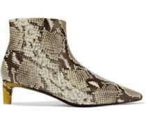 Snake-effect Leather Ankle Boots Animal Print