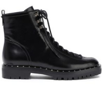 Woman Soul Rockstud Glossed-leather Ankle Boots Black