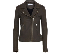 Leather Biker Jacket Dark Brown