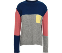 Color-block Cashmere Sweater Navy