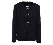 Fringe-trimmed Metallic Tweed Jacket Navy