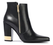 Metallic-trimmed Leather Ankle Boots Black