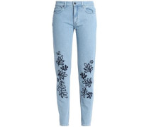 Embroidered mid-rise slim-leg jeans