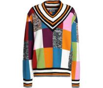 Intarsia merino wool-blend sweater