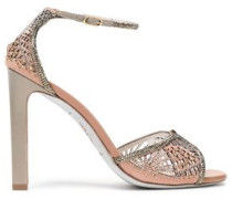 Embellished Laser-cut Suede Sandals Blush
