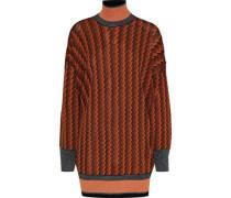 Metallic Jacquard-knit Turtleneck Sweater Orange
