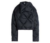 Asymmetric quilted shell down jacket