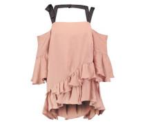 Cold-shoulder ruffled silk top