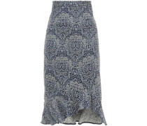 Fluted Floral-jacquard Midi Skirt Navy