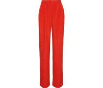 Woman Pleated Crepe Wide-leg Pants Red