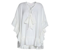 Pussy-bow draped cotton and linen-blend top