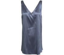 Bead-embellished Silk-blend Crepe Satin Top Storm Blue