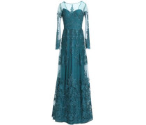 Embroidered silk-blend tulle gown