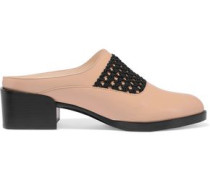 Claridge macramé-trimmed glossed-leather slippers
