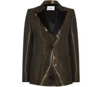 Satin-trimmed metallic crepe blazer
