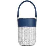 Lucie Leather-paneled Wicker Bucket Bag Indigo Size --