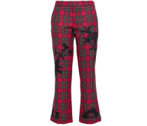 Printed Twill Bootcut Pants Red