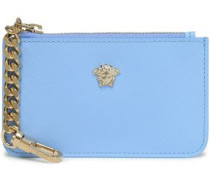 Embellished textured-leather pouch