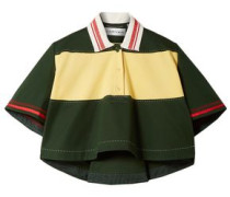 Cropped Oversized Cotton-piqué Polo Shirt Forest Green