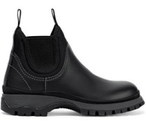 9cf61c4ff417f Rodeo Neoprene-trimmed Leather Ankle Boots Black. Prada