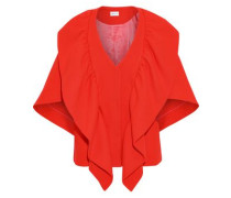 Ruffled Wool-blend Cape Tomato Red