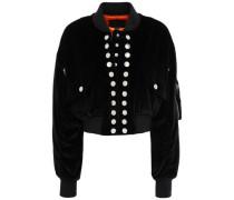 Woman Cropped Studded Cotton-velvet Bomber Jacket Black